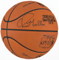 Basketball Collectibles:Balls, Chris Mullin Signed Leather Commemorative NBA Basketball and SignedPrint....