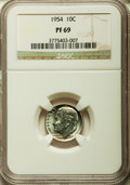Proof Roosevelt Dimes: , 1954 10C PR69 NGC. NGC Census: (81/0). PCGS Population (1/0).Mintage: 233,300. Numismedia Wsl. Price for problem free NGC/...