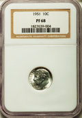 Proof Roosevelt Dimes: , 1951 10C PR68 NGC. NGC Census: (188/8). PCGS Population (34/7).Mintage: 57,500. Numismedia Wsl. Price for problem free NGC...