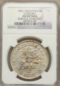 Argentina:Cordoba, Argentina: Cordoba. Provincial 8 Reales 1852 AU Details (SurfaceHairlines) NGC,...