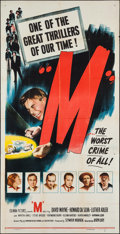 """Movie Posters:Crime, M (Columbia, 1951). One Sheet (27"""" X 41""""), Three Sheet (41"""" X 79),Title Lobby Card & Lobby Cards (3) (11"""" X 14""""). Crime.. ...(Total: 6 Items)"""