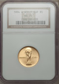 1994-W G$5 World Cup Gold Five Dollar MS70 NGC. NGC Census: (488). PCGS Population (79). Mintage: 22,464. Numismedia Wsl...