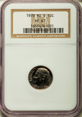 Proof Roosevelt Dimes: , 1970 10C No S PR67 NGC. NGC Census: (31/63). PCGS Population(59/78). Mintage: 2,200. Numismedia Wsl. Price for problem fre...