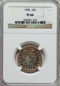 Proof Barber Quarters: , 1905 25C PR66 NGC. NGC Census: (37/25). PCGS Population (29/13). Mintage: 727. Numismedia Wsl. Price for problem free NGC/P...