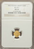 California Fractional Gold: , 1853 50C Liberty Round 50 Cents, BG-421, R.4, MS64 NGC. NGC Census:(7/3). PCGS Population (11/6). ...