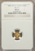 California Fractional Gold: , 1856 50C Liberty Octagonal 50 Cents, BG-311, Low R.4, MS62 NGC. NGCCensus: (13/7). PCGS Population (33/27). ...