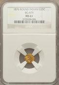 California Fractional Gold: , 1876 25C Indian Round 25 Cents, BG-879, R.4, MS61 NGC. NGC Census:(1/9). PCGS Population (1/74). ...