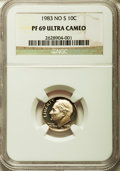 Proof Roosevelt Dimes: , 1983 10C No S PR69 Ultra Cameo NGC. NGC Census: (94/2). PCGSPopulation (131/1). Numismedia Wsl. Price for problem free NG...