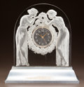 Glass, R. LALIQUE CLEAR AND FROSTED GLASS DEUX FIGURINES CLOCK AND ILLUMINATED BASE. Circa 1926. Wheel-cut R. LALIQUE, ...