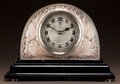 Glass, R. LALIQUE FROSTED GLASS MOINEAUX CLOCK WITH SEPIA PATINA AND ILLUMINATED BASE. Circa 1924. Wheel-cut R. LALIQUE... (Total: 3 Items)