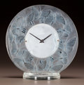 Art Glass:Lalique, R. LALIQUE FROSTED GLASS PAPILLONS CLOCK WITH BLUE PATINA.Circa 1931. Stenciled R. LALIQUE. M p. 373, No. 732...