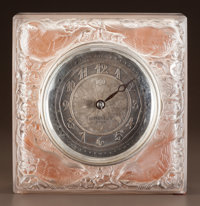 R. LALIQUE CLEAR AND FROSTED GLASS QUATRE MOINEAUX DU JAPON CLOCK Circa 1928. Whe