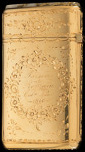 Silver Smalls:Match Safes, AN AMERICAN 14K GOLD AND GOLD QUARTZ MATCH SAFE, circa 1860. 2-1/8inches high (5.4 cm). 1.27 troy ounces. FROM THE ESTATE...