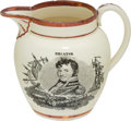Antiques:Decorative Americana, War of 1812: Strawberry Luster Pitcher....