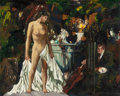 Fine Art - Painting, American:Modern  (1900 1949)  , JOHN R. GRABACH (American, 1886-1981). Painter and Model.Oil on canvas. 16 x 20 inches (40.6 x 50.8 cm). Signed lower r...