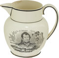 Antiques:Decorative Americana, War of 1812: Staffordshire Pitcher....