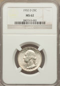 Washington Quarters: , 1932-D 25C MS62 NGC. NGC Census: (363/537). PCGS Population(472/1356). Mintage: 436,800. Numismedia Wsl. Price for problem...