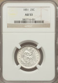 Seated Quarters: , 1851 25C AU53 NGC. NGC Census: (1/22). PCGS Population (2/32). Mintage: 160,000. Numismedia Wsl. Price for problem free NGC...