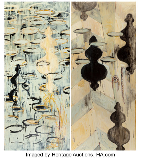 SYDNEY PHILEN YEAGER (American, 20th Century) Both, 1996 Oil on canvas Diptych: Each element 66 x 29-1/4 inches (167.... (Total: 2 )