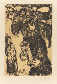 MARC CHAGALL (French/Russian, 1887-1985) The Man with the Torah, 1975 Lithograph in colors 23-1/2