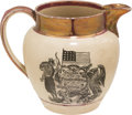 Antiques:Decorative Americana, Patriotic China: Strawberry Luster Pitcher....