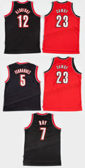 Basketball Collectibles:Uniforms, Portland Trailblazers Signed Jerseys Lot of 5....