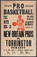 Basketball Collectibles:Others, Mid 1940's New Britain Pros Vs. Torrington Howard's Eastern Basketball League Broadside....