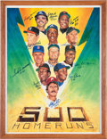 Baseball Collectibles:Others, 1980's Ron Lewis 500 Home Run Club Multi Signed Print - With HomeRun Numbers Inscribed. ...