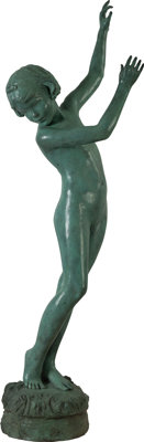 BESSIE POTTER VONNOH (American, 1872-1955) The Dancing Girl Bronze with green patina 62 inches (1