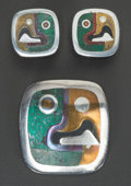 Silver & Vertu:Hollowware, A LOS CASTILLO MEXICAN SILVER, MIXED METAL AND MALACHITE BROOCH AND EARRINGS, Taxco, Mexico, circa 1953. Marks: METALES CA... (Total: 3 )