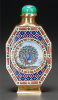 Silver Holloware, Chinese Export:Holloware, A CHINESE 22K GOLD, ENAMEL AND JADE SNUFF BOTTLE, circa 1970. Marks: (chop marks). 3-1/4 inches high (8.3 cm). 3.60 troy oun...
