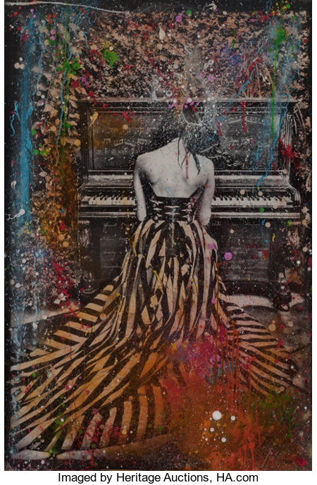 RAPHAEL MAZZUCCO (Canadian, b. 1965) Piano Girl, 2014 Mixed media 61 x 41-1/2 inches (154.9 x 105.4 cm) Signed lower...