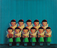LIU YE (Chinese, b. 1964) Untitled (Choir of Angels), 2001 Silkscreen on canvas 23-1/2 x 27-1/2 i