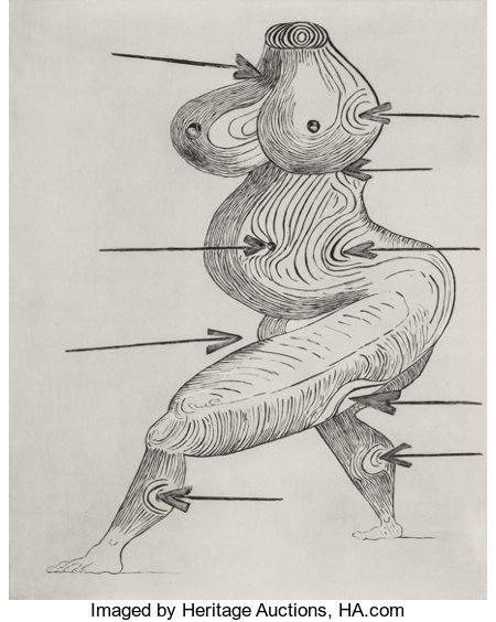 LOUISE BOURGEOIS (French, 1911-2010) Sainte Sebastienne, 1992 Drypoint on Somerset Satin paper 38-3/4 x 30-7/8 inches...