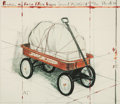 Post-War & Contemporary:Contemporary, CHRISTO (Bulgarian/American, b. 1935). Package on Radio FlyerWagon (Project), 1993. Lithograph and silkscreen with coll...