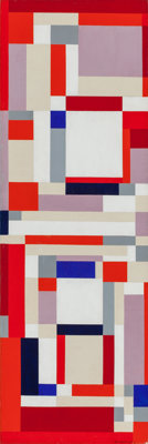ILYA BOLOTOWSKY (American, 1907-1981) Pomoeian Red, 1951 Oil on canvas 30 x 10 inches (76.2 x 25
