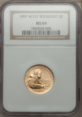 Modern Issues: , 1997-W G$5 Franklin D. Roosevelt Gold Five Dollar MS69 NGC. NGC Census: (380/453). PCGS Population (1585/226). Mintage: 11,...
