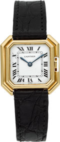 "Timepieces:Wristwatch, Cartier Lady's Gold ""Centiure"" With Gold Deployant Clasp. ..."