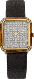 Timepieces:Wristwatch, Bueche Girod Gold, Diamond & Tiger's Eye Wristwatch, circa1970's. ...