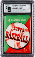 Baseball Cards:Unopened Packs/Display Boxes, 1954 Topps Baseball 5-Cent Unopened Wax Pack GAI NM 7....