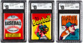 Baseball Cards:Unopened Packs/Display Boxes, 1972, 1973 and 1974 Topps Baseball Wax Pack GAI Graded Trio (3)....