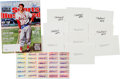 Autographs:Others, 2010 Stan Musial Signed Sports Illustrated Magazine, Index Cards& Stickers Lot of 41....