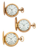 Timepieces:Pocket (post 1900), Two Elgin's & One Waltham Hunter's Cases Pocket Watches. ...(Total: 3 Items)