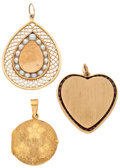Estate Jewelry:Pendants and Lockets, Cultured Pearl, Garnet, Gold Pendants. ... (Total: 3 Items)