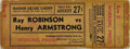 Boxing Collectibles:Memorabilia, 1943 Sugar Ray Robinson vs. Henry Armstrong Full Ticket. On August 27, 1943 Sugar Ray Robinson fought Henry Armstrong in New...