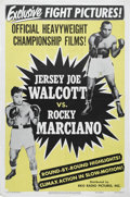 """Boxing Collectibles:Memorabilia, 1952 Marciano vs. Walcott Fight Film Poster. Bold and gorgeous one-sheet poster (27x41"""") encouraged fight fans to attend th..."""