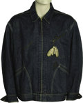 """Boxing Collectibles:Memorabilia, 1964 Muhammad Ali """"Bear Huntin'"""" Bundini Brown Worn Jacket. A blue denim jacket once played prominently in the early history..."""