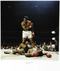Boxing Collectibles:Autographs, Ali-Liston II Photograph by Neil Leifer, Signed by Ali. It's one ofthe most recognizable photographs of the twentieth cent...