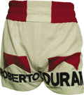 Boxing Collectibles:Memorabilia, 1980 Roberto Duran Championship Fight Worn Trunks from Sugar Ray Leonard I Bout. On June 20, 1980 Sugar Ray Leonard defended...