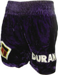 Boxing Collectibles:Memorabilia, 1983 Roberto Duran Championship Fight Worn Trunks from the Davey Moore Bout. On June 16th, 1983 Roberto Duran fought Davey M...